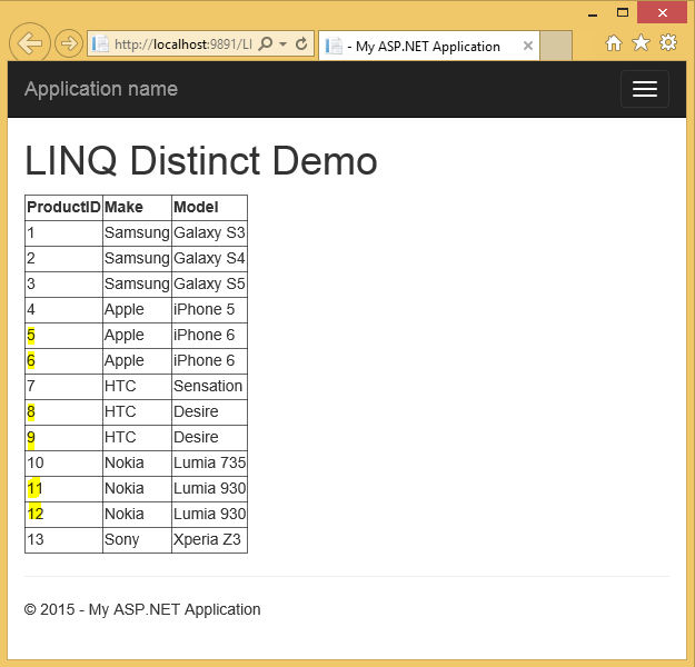 Various Ways to Get Distinct Values from a List<T> using LINQ